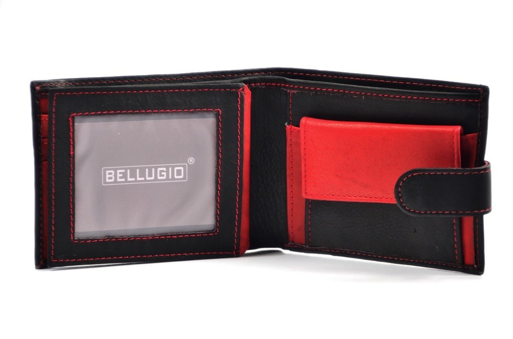 bc58612376059 Portfel męski BELLUGIO skóra czarny czerwony funkcjonalny