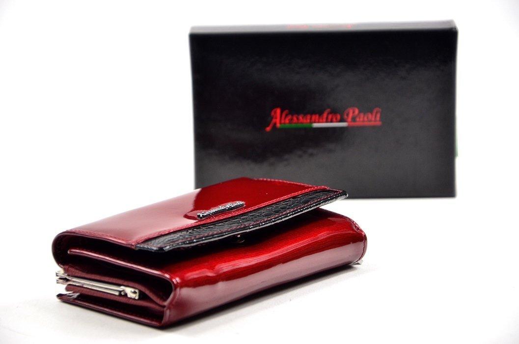 877aca5b36e30 Portfel damski ALESSANDRO PAOLI skóra czerwony lakier funkcjonalny