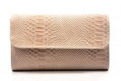 TOREBKA kopertówka MIKO skóra jasna pudrowa różowa wizytowa krokodyl