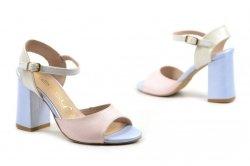 Sandałki 36 słupek OLEKSY 2692 skóra różowe niebieskie perłowe