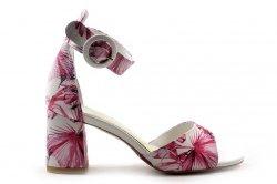Sandały 36 słupek LARETTI 5551 skóra białe różowe
