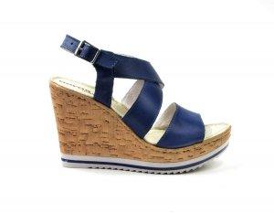 Sandałki 40 skórzane AEROS niebieskie koturn