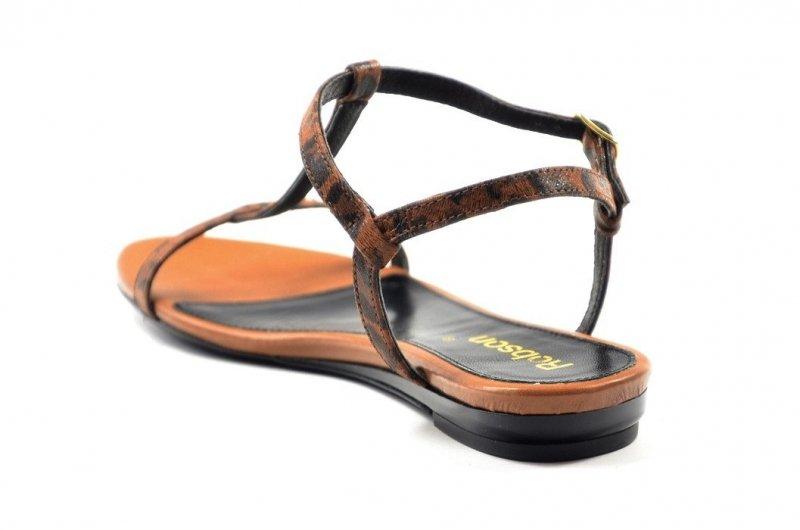 Sandałki 41 ROBSON 320 skórzane rude panterka
