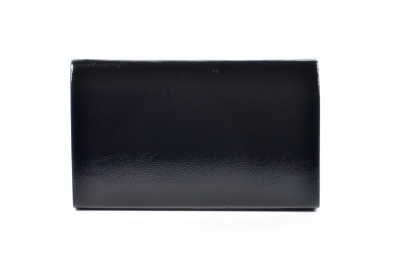 TOREBKA kopertówka LAURA BIAGGI wizytowa czarna lakier błyszcząca
