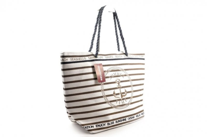 3820acc3a568f TORBA damska BELLUGIO plażowa biała brązowa paski