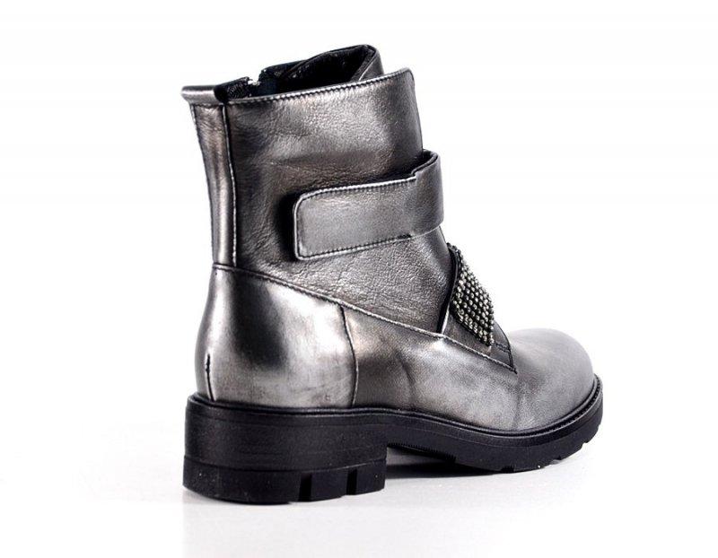 Buty Botki 36 B3604 CARINII skóra nikiel czarne srebrne