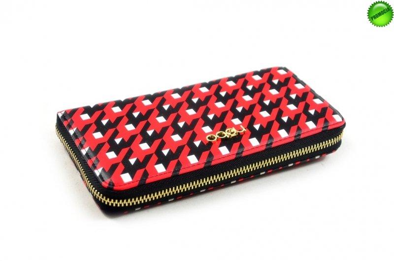 Portfel damski NOBO 0070 czerwony czarny biały funkcjonalny