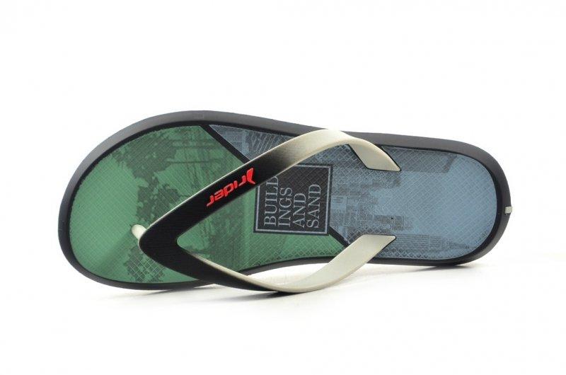 Klapki męskie 43 RIDER 82731 szare czarne zielone