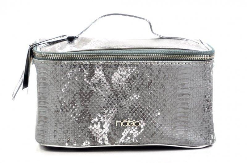 Kosmetyczka damska kuferek NOBO E03 szara srebrna wąż