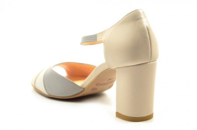 Sandałki 36 słupek EDEO 3188 skóra beżowe szare