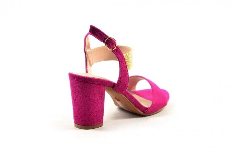 Sandałki 38 słupek FILIPPO 817 skóra różowe fuksja