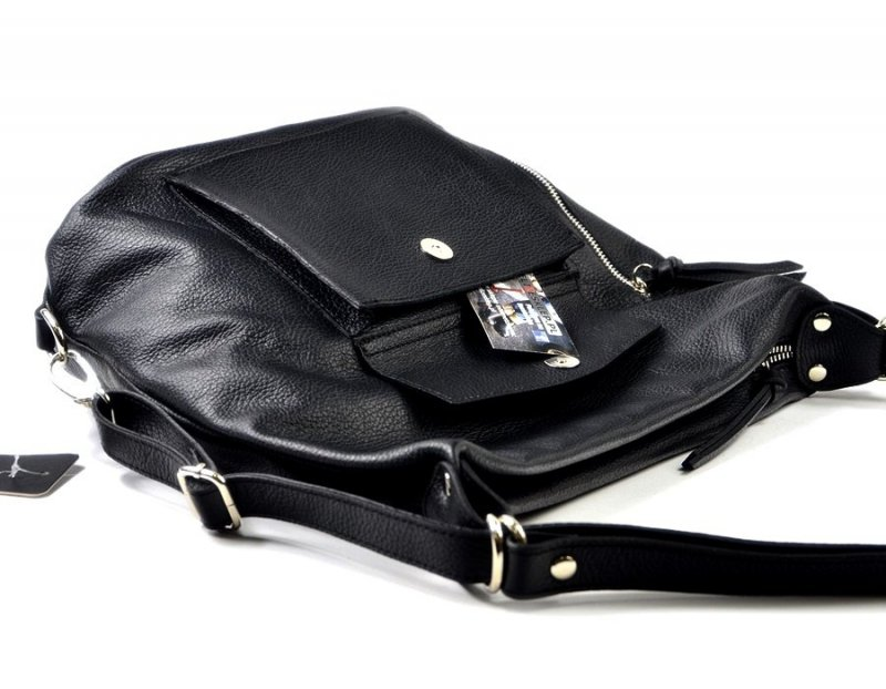TOREBKA Laura Biaggi worek plecak skórzana czarna