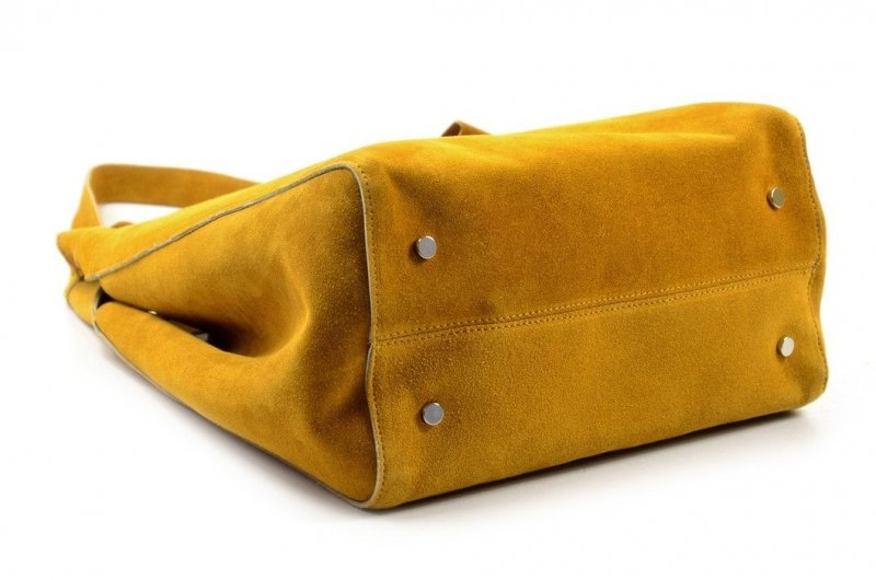 TOREBKA damska LAURA BIAGGI skóra żółta musztardowa