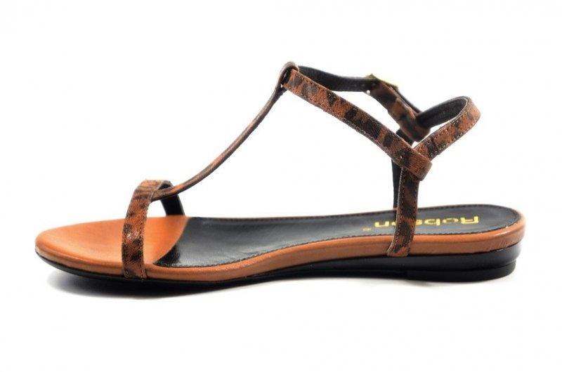 Sandałki 38 ROBSON 320 skórzane rude panterka