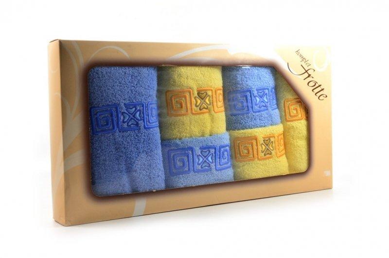 Komplet 6 ręczników frotte JSIA żółty niebieski na prezent
