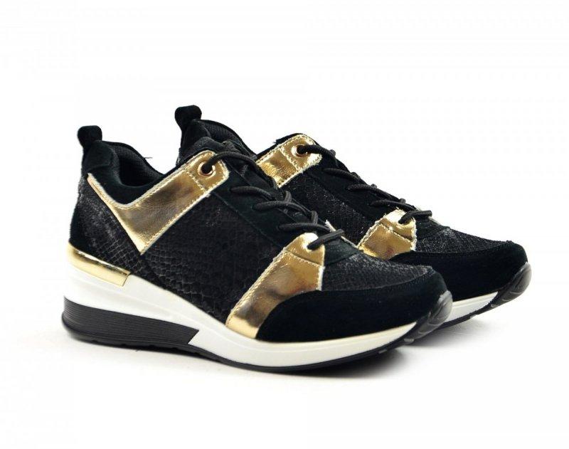 Półbuty 39 sneakersy FILIPPO 3170 skóra czarne złote
