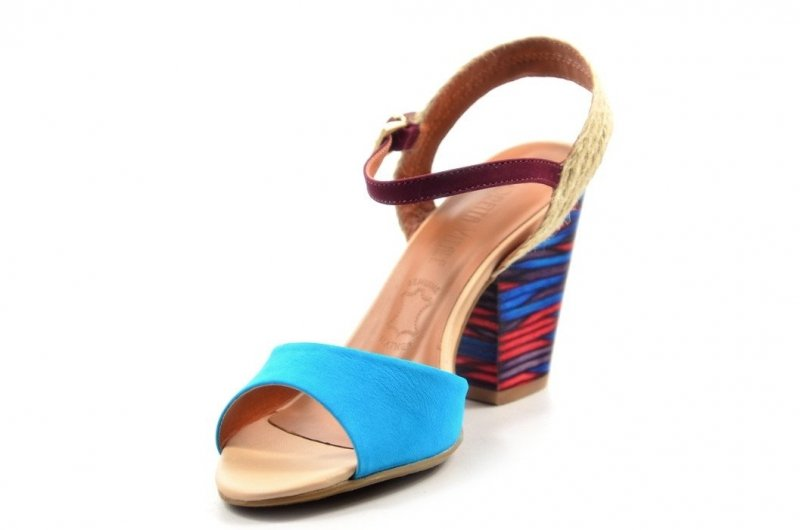 Sandałki 38 słupek LORETTA VITALE 50980 skóra niebieskie turkusowe