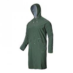LAHTI PRO Płaszcz przeciwdeszczowy 2XL kaptur PVC wodoodporny zielony