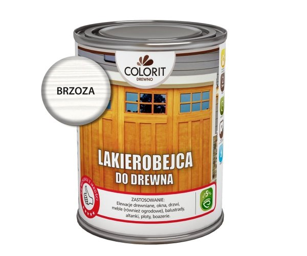 Colorit Lakierobejca Drewna 0,75L BRZOZA BIAŁA szybkoschnąca satynowa farba do