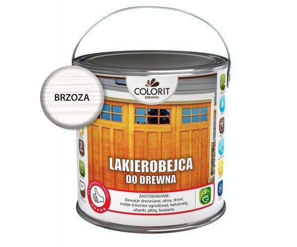Colorit Lakierobejca Drewna 2,5L BRZOZA BIAŁA szybkoschnąca satynowa farba do