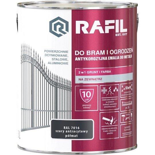Rafil 3L Bram Ogrodzeń Szary RAL7016 PÓŁMAT farba do bramy ogrodzenia szary antracytowy antracyt