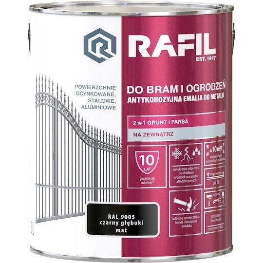 Rafil 3L Bram Ogrodzeń Czarny RAL9005 MAT farba do bramy ogrodzenia Głęboki