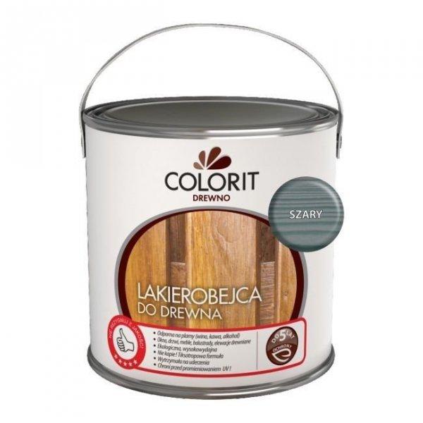 Colorit Lakierobejca Drewna 2,5L SZARY szybkoschnąca satynowa farba do