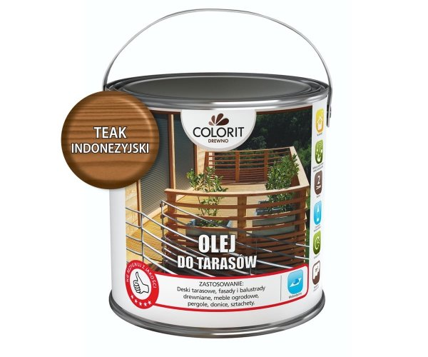 Colorit Olej Do Drewna Tarasów 2,5L TEAK INDONEZYJSKI TIK TEK