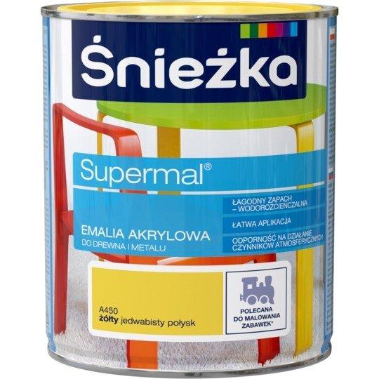 Śnieżka Emalia Akrylowa 0,8L ŻÓŁTY A450 POŁYSK JEDWABISTY Farba Supermal