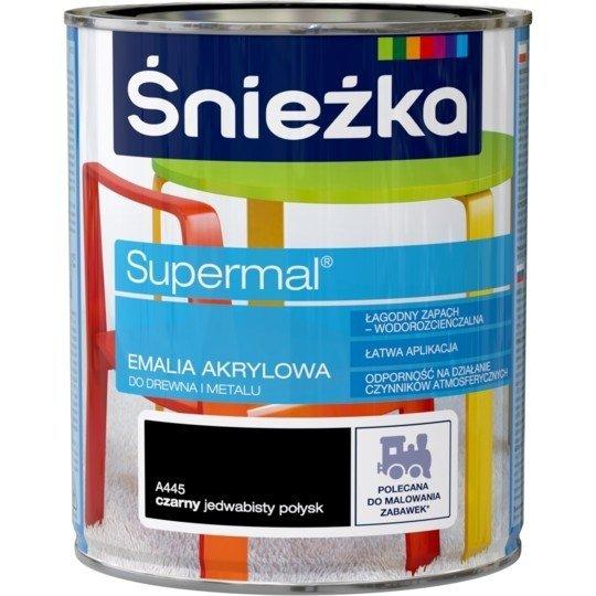 Śnieżka Emalia Akrylowa 0,8L CZARNY A445 POŁYSK JEDWABISTY Farba czarna Supermal