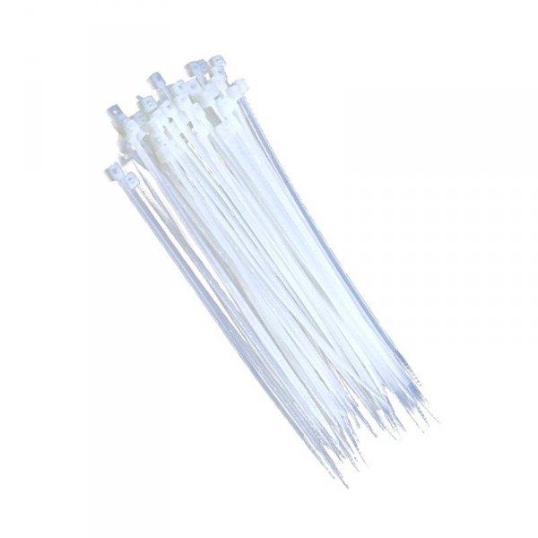Opaski zaciskowe trytki 2,5x100mm BIAŁE zip-y 100 szt. nylonowe