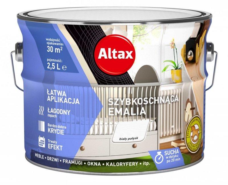 Altax Emalia Szybkoschnąca Biały POŁYSK 2,5L akrylowa wodna do drewna metalu