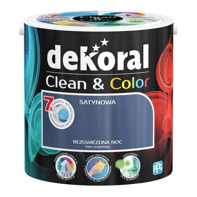 Dekoral CLEAN  COLOR 2,5L Bezgwiezdna Noc satynowa farba lateksowa