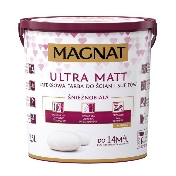MAGNAT Ultra Matt 2,5L Farba Biała LATEKSOWA DO ŚCIAN I SUFITÓW