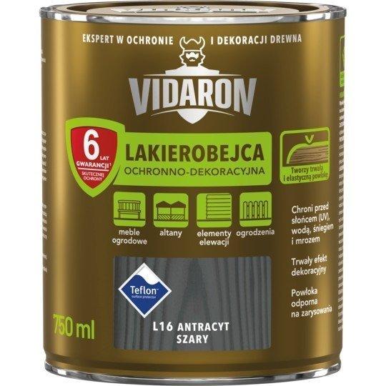 Vidaron Lakierobejca 0,75L L16 Antracyt Szary do drewna