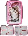 Piórnik z Kotem Kot Szkolny Kotek dla Dziewczynki Dwukomorowy [RAM-022BW]
