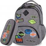 Szary CoolPack Plecak Cp Młodzieżowy z Naszywkami [B24052]
