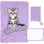Fioletowy Pamiętnik Pluszowy Kotek dla Dziewczyn [PTC-3670]
