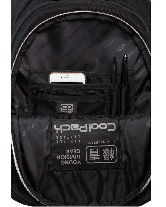 Czarny Plecak CoolPack Cp Młodzieżowy SILVER z Napisem