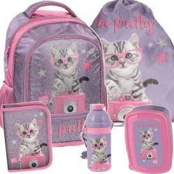 Plecak dla Dziewczyny do Szkoły Komplet Kot Kotek [PTG-260]