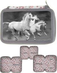 Piórnik Szkolny Koń Konie 3-Komorowy dla Dziewczyny [PP19HS-023BW]