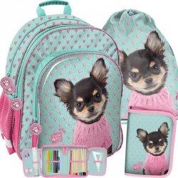 Plecak Szkolny Piesek w Sweterku dla Dziewczynki Komplet [PQD-090]