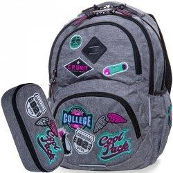 Dziewczęcy Plecak CP CoolPack Szary z Naszywkami [B19058]