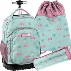 Plecak na Kółkach Flamingi Młodzieżowy Komplet [PPLF19-1231]