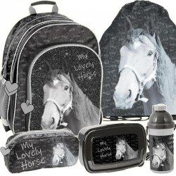 Plecak Szkolny Ładny w Konie dla Dziewczynki Komplet [PP19KO-090]