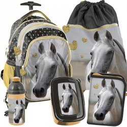 Plecak na Kółkach Szkolny dla Dziewczynki w Konie Zestaw [PP19H-997]