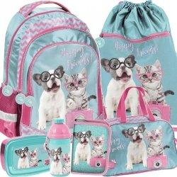 Modny Plecak dla Dziewczyny Szkolny Zestaw z Kotem Psem [PTK-181]