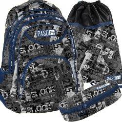 Plecak dla Chłopaka Młodzieżowy Szaryi Komplet [PPME19-2708]