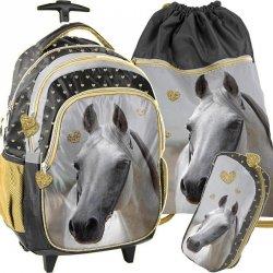 Plecak na Kółkach w Konie Szkolny dla Dziewczyny Komplet [PP19H-997]