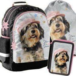 Plecak do Szkoły z Pieskiem w Czapce Dziewczęcy [RLF-116]